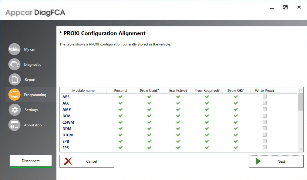 Appcar Proxi Configuration Alignment
